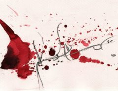 Calligraphic image with red ink.